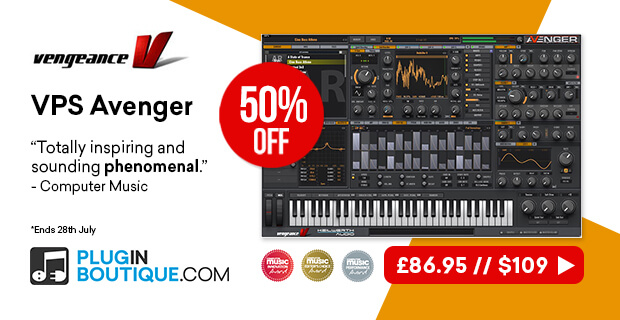 Vengeance Sound VPS Avenger 10th Anniversary Sale, save 50% off at Plugin Boutique