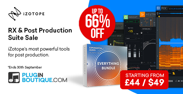 iZotope RX & Post Production Suite Sale, save up to 66% off at Plugin Boutique